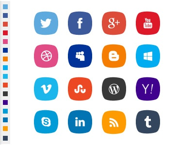 PSD social icons with original colors free social icons psd original color icon colors vector