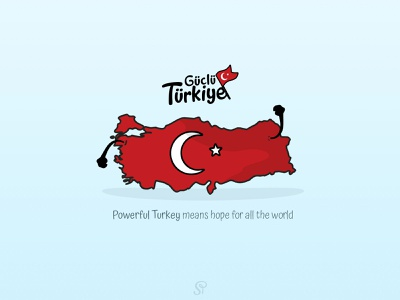 Güçlü Türkiye (Powerful Turkey) crescent star maps turkey map turks turkish powerful güçlü power map turkey