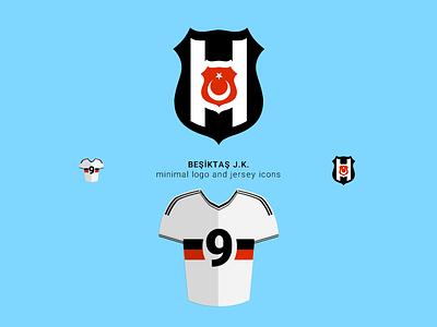 Besiktas JK Minimal Logo and Jersey icon besiktas bjk club football sports jersey logo minimal