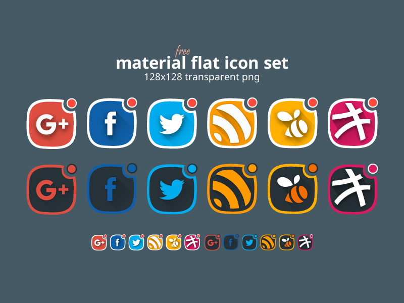 Material Flat Social Icon Set (free) freebies free google swarm twitter facebook dribbble rss social icon flat material