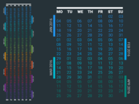 Free Vector 2016 Continuous Calendar (PNG + PSD)
