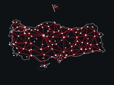 "Turkey ""Network"" Map (black) turkey network map web cable turkish dot kktc"