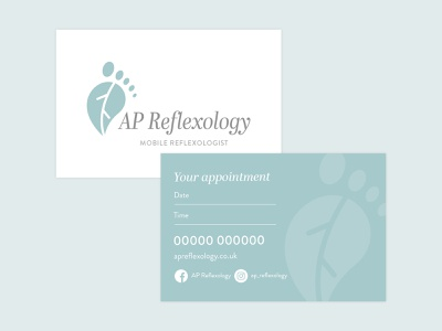 AP Reflexology cards business service feet reflexology business cards