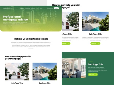 Mortgage Company Home Page design home logo landing page adobe xd web design mock-up clean property home page insurance mortgage