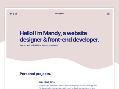 Personal Website Home Page website homepage design personal minimalist front-end developer designer clean