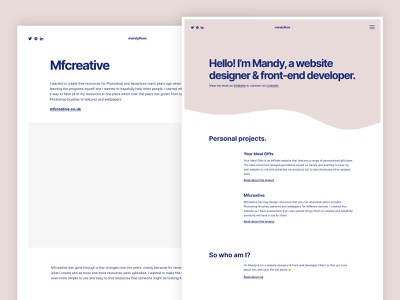 Personal Website Design front-end developer web design sub-page homepage personal clean pink website portfolio