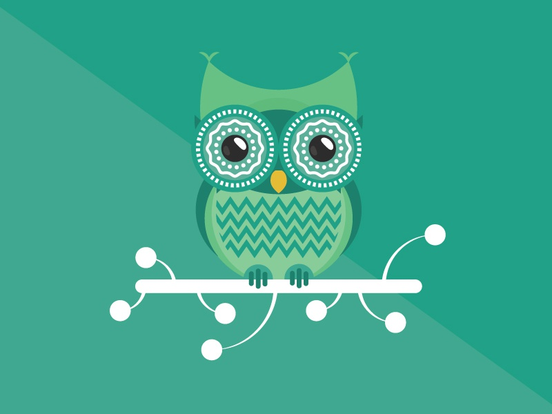 The Night Owl animal bird green big eye owl cute sitting eyes fly funny flanimals night owl