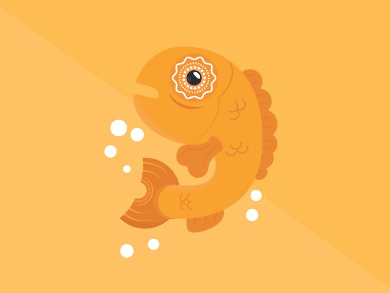 The Fish sea water jump yellow orange swim big eye bubbles cute animal flanimals fish