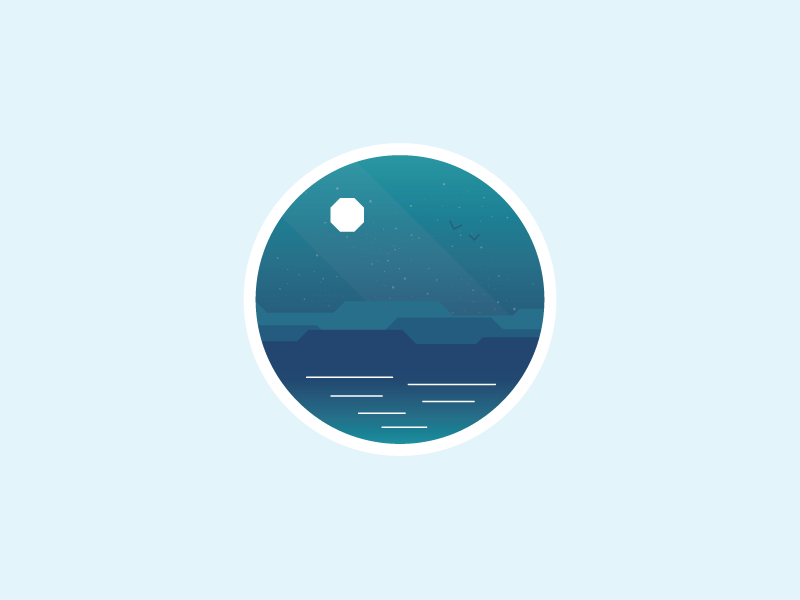 The sea is everywhere! the-daily-icon day5 blue minimal simple dark moon sea