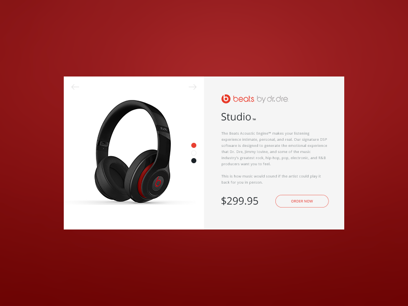 Product Card - Beats by Dre webshop studio red product card beats by dre