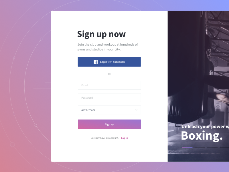 Unleash your power! facebook gradient boxing sports onboarding sign up