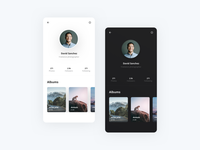 Profile - Photography App simple minimal overview detailpage detail mobile app design user interface ui app android ios light albums dark white clean mobile app photos mobile profile