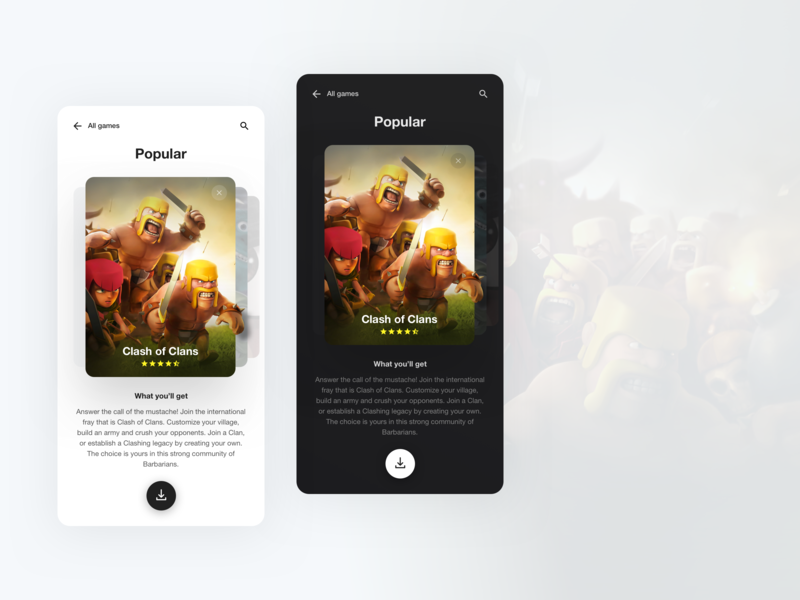 Mobile Game Store app ios android clean simple game app download swipe storefront clashofclans light dark store games