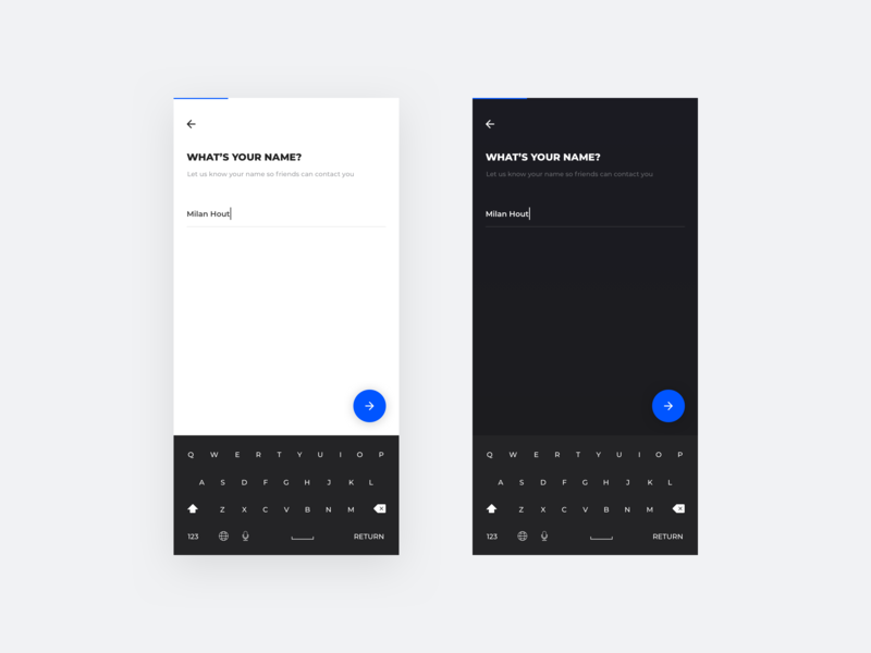 What's your name? flow app mobile phone ios android black white step 1 custom light dark keyboard minimal simple name onboarding