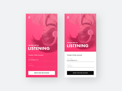 Sign Up Screen - Music service mobile phone android app ios android register sign in create account light dark color bold tnwl pink music sign up