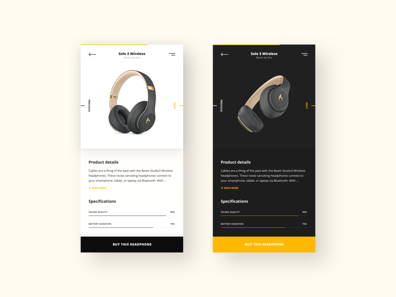Beats by Dre - Product details ios android app mobile app mobile button cta specifications details product details product detail clean yellow black light dark headphones beats by dre