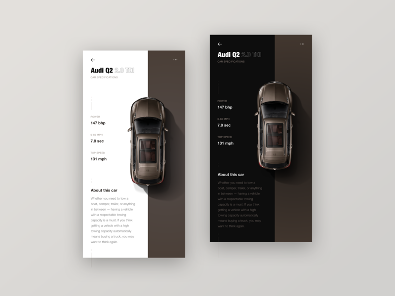 Car Product Detail Page - Audi android light dark product detail page minimal mobile app app car app mobile information audi modern clean classy product detail detail detailpage brown cars car