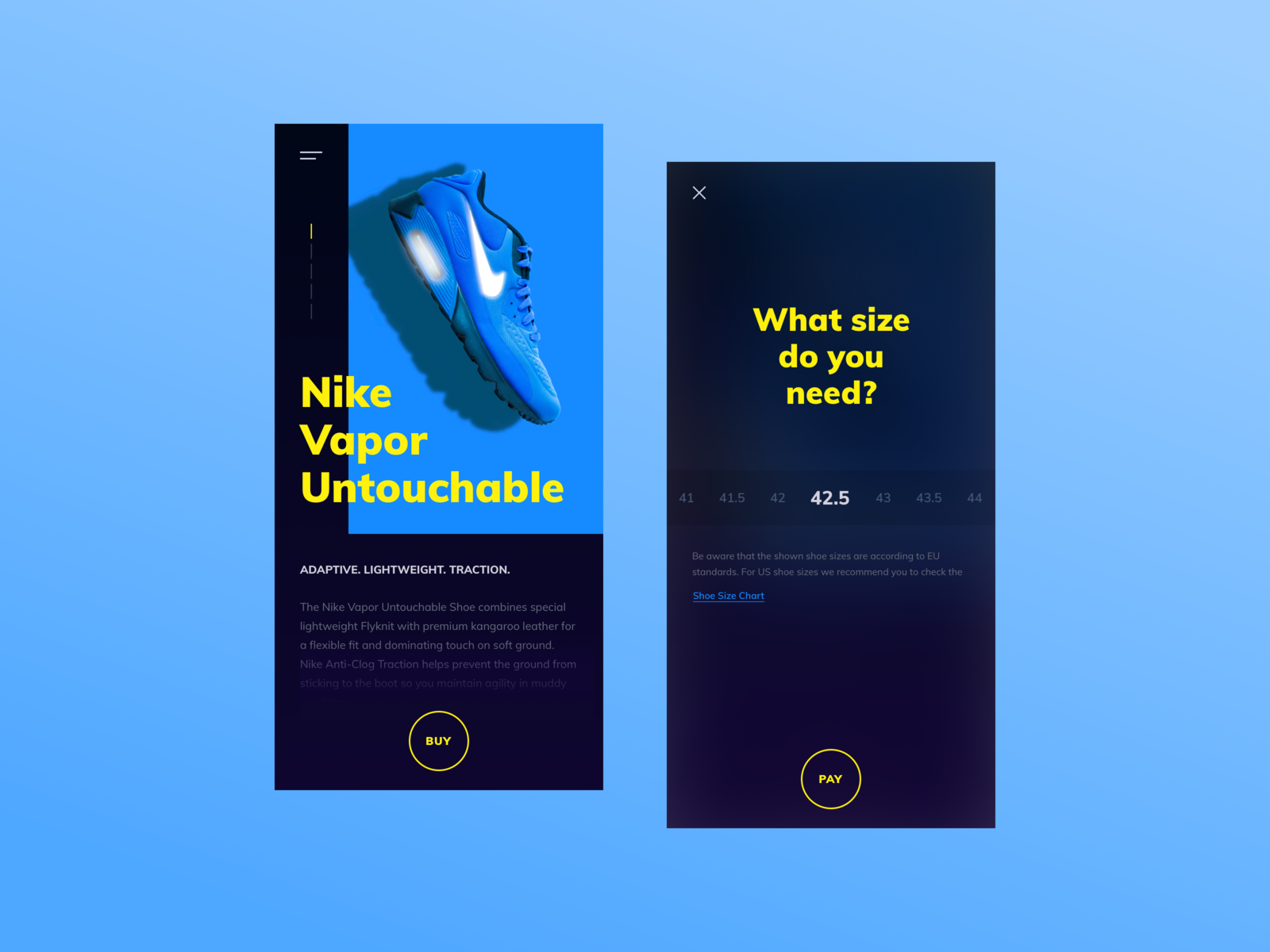 Shoe product page - Select your size! app ios android dark horizontal mobile overlay mobile ui webshop mobile nike nike air pay buy overlay selector size product blue abstract bold
