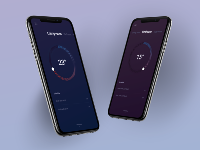 Home Thermostat smart home smart daily swipe stats room control room dark mobile app ios android minimal clean home house temperature thermostat app mobile phone