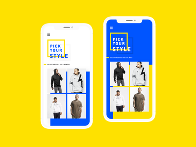 Pick Your Style - Fashion Shop clothes clothing fashion picker minimal black  white bright colorful abstract bold yellow blue and yellow blue android ios mobile app mobile pick selector pick your style