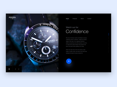 FOSSIL Watches - Landing Page play movie web ui design landing ui web ui black blue slider photography clean watch ui luxurious luxe fashion landing site web landingpage fossil watches watch
