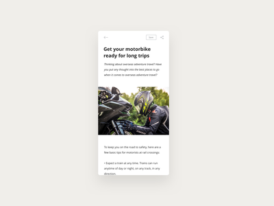 Motorcycle Blog minimal share mobile app app web mobile ios android text news read follow motorcycles motor motorbike blog simple white clean