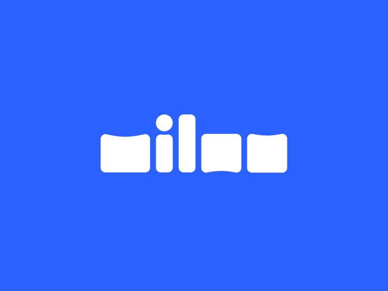 Milan Logo typo type font typography design square squares boxes white smooth round blue illustration clean minimal simple name logo milan