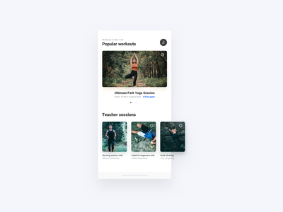 Discover Workouts app ui kit white clean minimal app mobile app mobile ui mobile app ui gym app popular workouts workout workouts gym gyms discovery discover explore find workout find