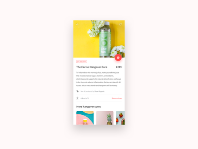 Anti Hangover - Product page detail detail page ui app info ui info page information product info minimal app hangover app product product ui product page minimal daily ui daily juice shop app drinks shop