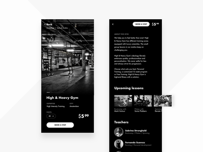Gym Booking App teachers pricing price book app interface abstract concept clean black  white product detail detail page schedule booking workout sport gym dark black art app