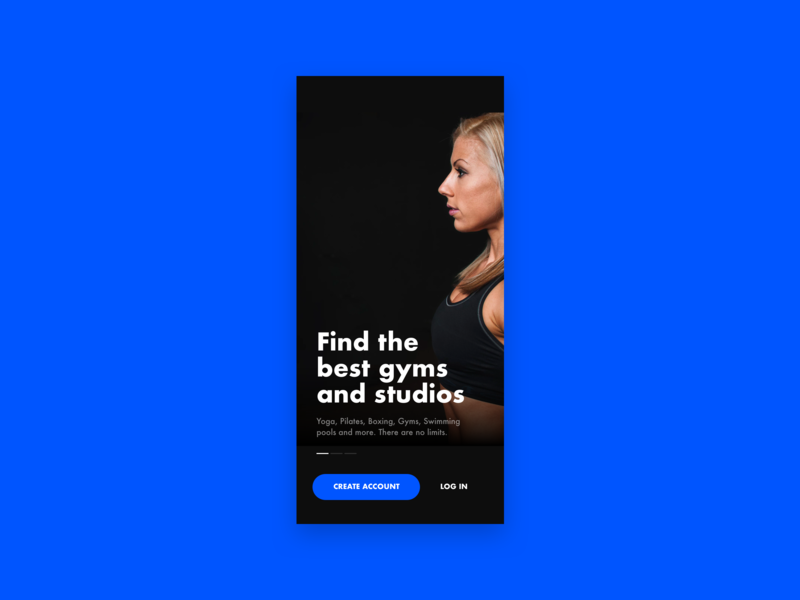 Fitness Splashscreen sign up log in welcome user interface ui dark fitness onboarding flow onboard training gyms gym workout sport black blue intro onboarding splashscreen splash