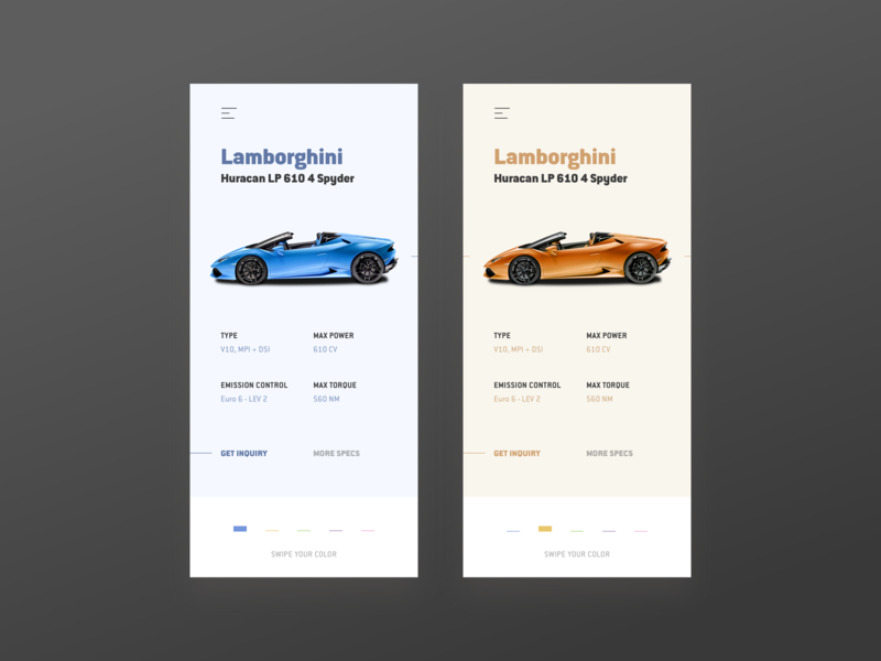 Lamborghini Color Picker luxery swipe cars thin minimal colors color color picker shopping card interface android ios shop car ui car clean ui app ui app luxe