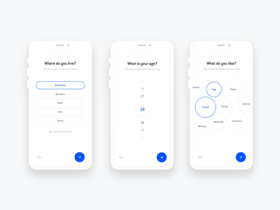 Mobile Onboarding Flow - OneFit App onefit ui app ui mobile ui mobile app onboarding ui onboarding get started select selector intro minimal abstract clean white gym ui gym workout sport sport app