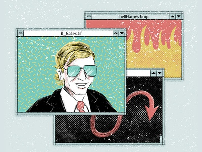 Windows - Bill Gates steve jobs bill gates evil illustration windows macosx press print yorokobu magazine vector