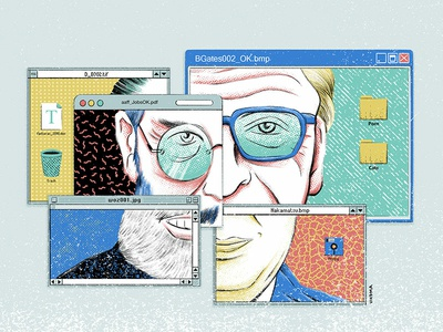 Windows - Collage portrait macos macosx wozniak woz bill gates steve jobs design editorial press print magazine yorokobu illustration windows
