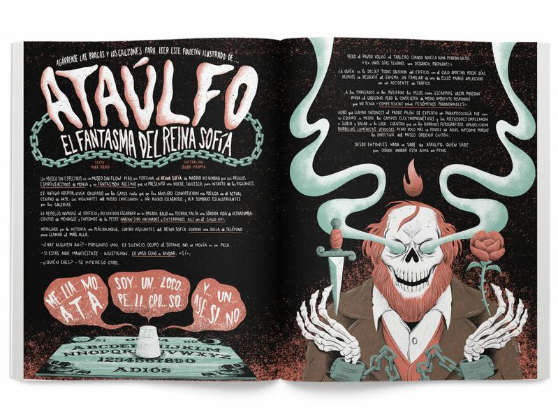 Ataulfo, the Reina Sofia Museum's Ghost lettering chains ouija haunted ghost skeleton rose dagger skull art direction weird editorial press yorokobu print magazine design illustration