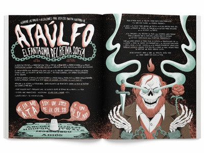 Ataulfo, the Reina Sofia Museum's Ghost lettering chains ouija haunted ghost skeleton rose dagger skull art direction weird editorial press yorokobu print magazine design illustration