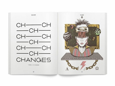 Changes twin peaks dimensional interestellar omega alpha lazarus ziggy stardust bowie david bowie surreal art chain surrealism editorial weird press yorokobu print magazine illustration design