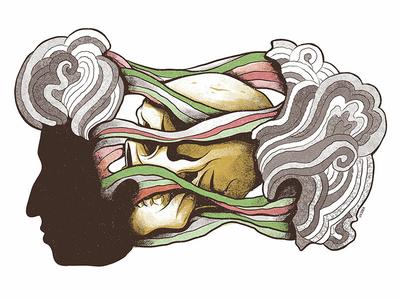 Bob Dylan dylan skull art skull bob dylan milton glaser psychedelic art direction surrealism editorial weird press yorokobu print magazine design illustration