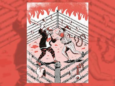 Duelo a Garrostiazos odio goya rumble gore hate gang ring fight lowbrow art lowbrow press yorokobu print magazine design illustration