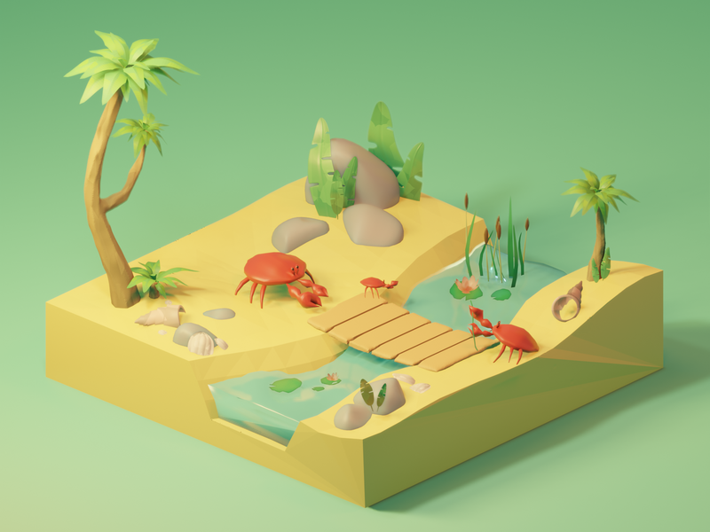 Island illustration digitalart 3dillustration nature art blender3d blender 3d