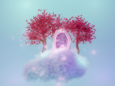 Portal on a cloud pastel tree blender 3d blender 3d illustration 3d cloud portal