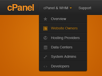 cPanel Menu cpanel dropdown menu nav legend orange