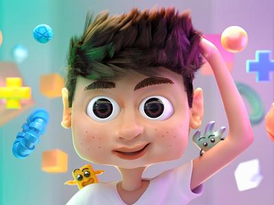 Boy monster cg art corona zbrush character boy cgi cartoon design illustration 3d art 3d