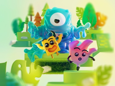 Jelly monster 3d art forest cgi graphic character cartoon design illustration 3d