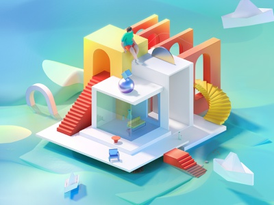 Abstract house ui character cgi house home low poly lowpoly design 3d art illustration 3d