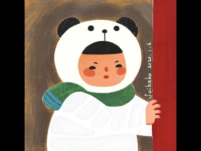 Baby panda girl girl winter panda digitalart watercolor suikako illustration