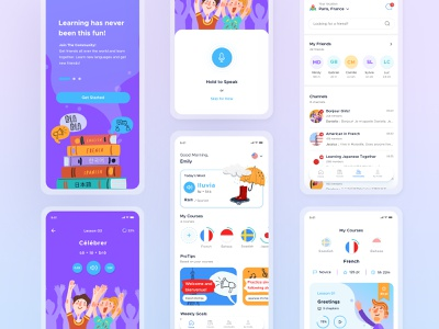 Language Learning Apps | Design Exploration learning app language vector mobile ui illustration mobile app design uxdesign ux uidesign ui mobile app design app