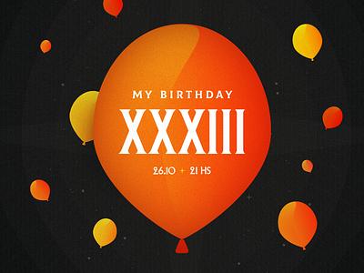 My Birthday XXXIII illustration savethedate ballons birthday card birthday party birthday