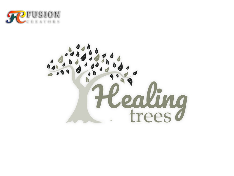 Healing Trees Logo Design typography designer fusioncreator design vector icon logo presentation logo branding illustration logo design